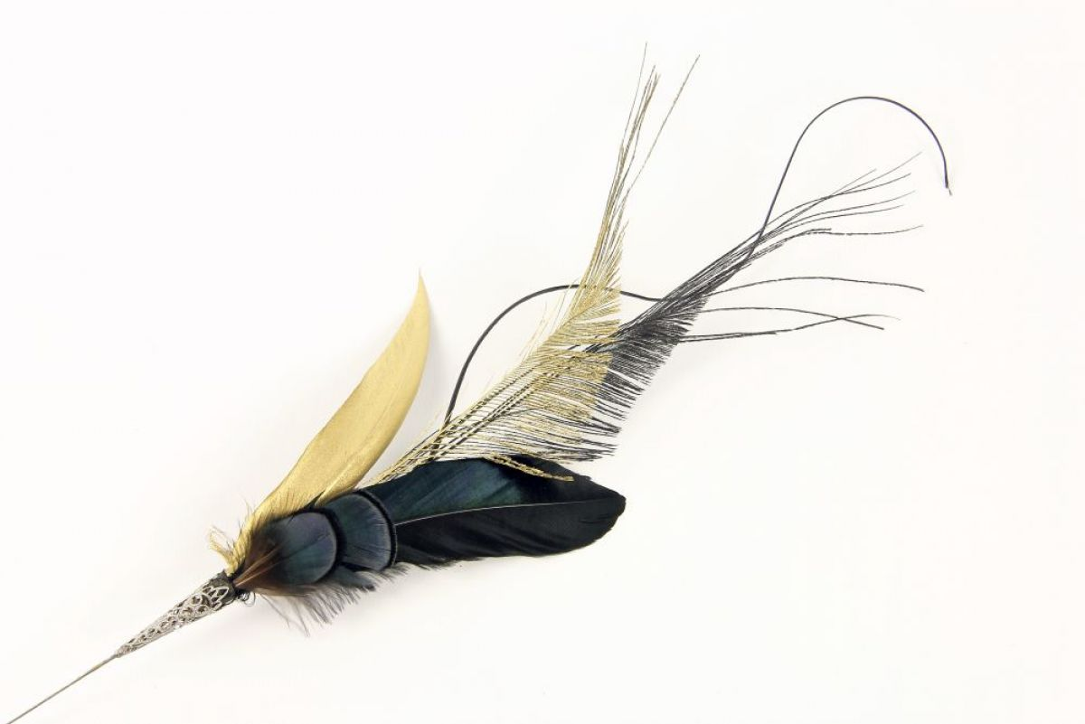 f547dcf1 Handmade Azurite Feather Hat Pin with stunning blue and gold feathers.