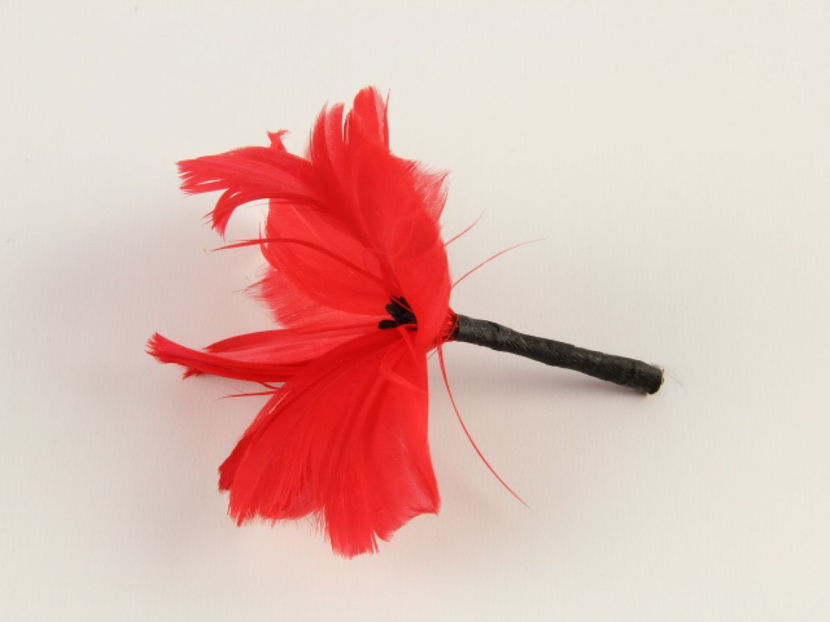 Handmade Feather Poppy Flower With Goose Feather