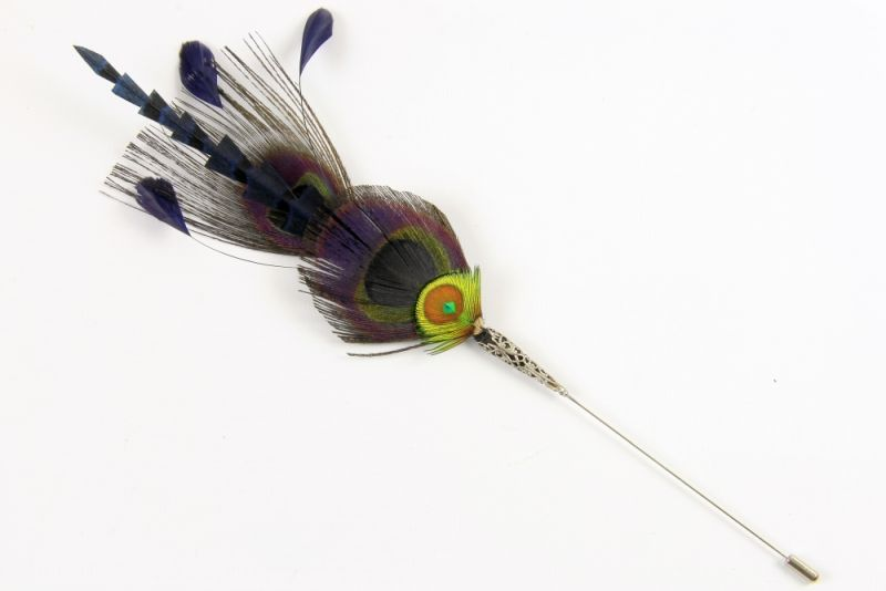 Black Peacock Feather Hat Pin 1