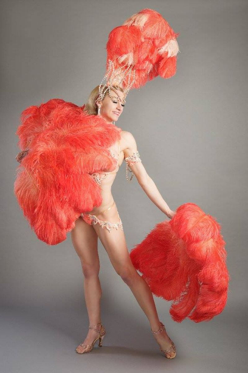 Deluxe Burlesque Ostrich Feather Fan 5