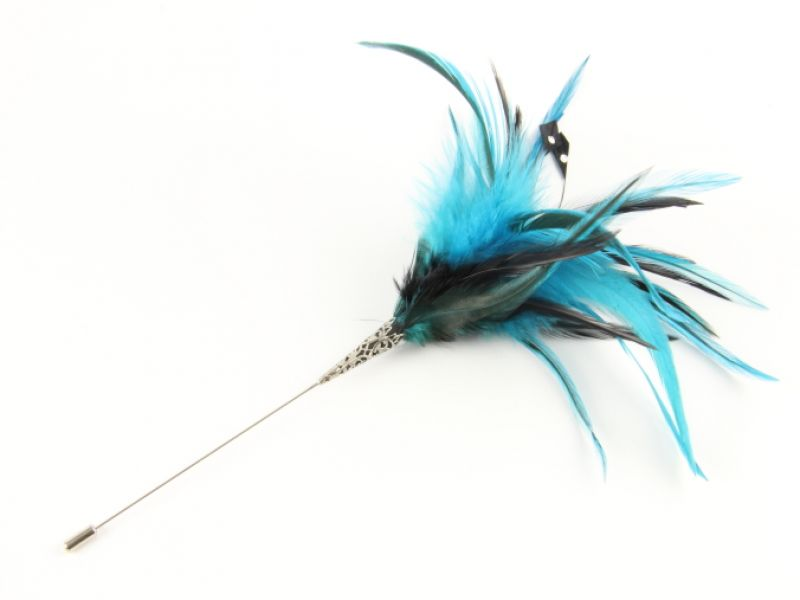 Jewelled Two Tone Hackle Feather Hat Pin 1