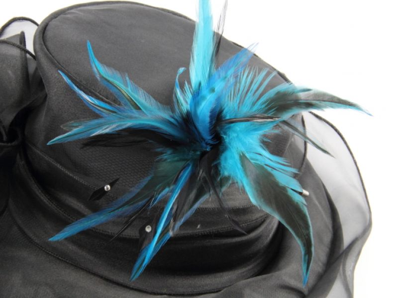 Jewelled Two Tone Hackle Feather Hat Pin 2