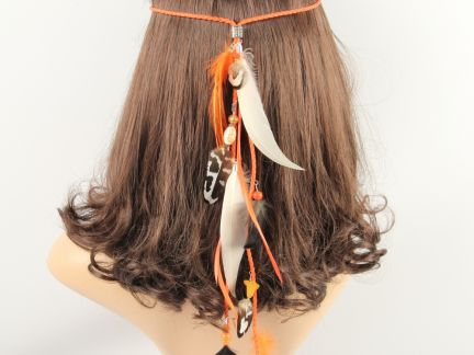 Orange Feather Festival Headband with FREE Matching Earrings