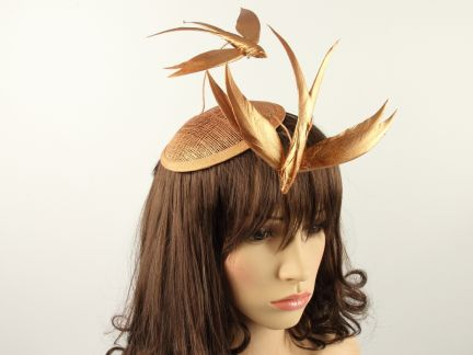 Bronze Duo Feather Fascinator
