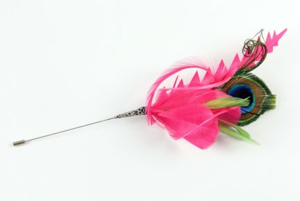 Hot Pink Feather Hat Pin