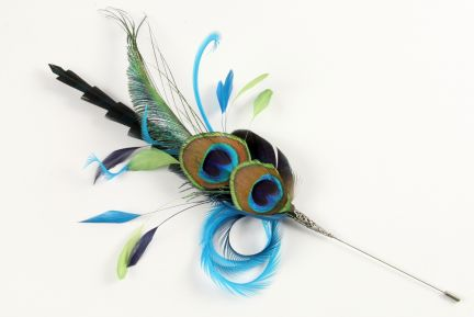 Peacock Eye Eiffel Feather Hat Mount