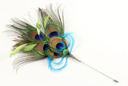 Peacock Eye Feather Hat Pin
