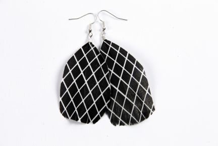 Black Diamond Pattern Feather Earrings