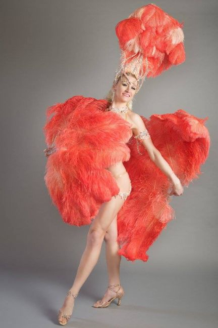 Deluxe Burlesque Ostrich Feather Fan