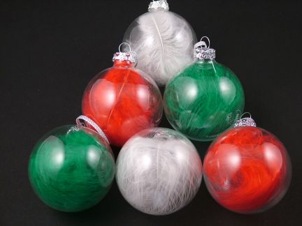 Festive Feather Baubles (Pack of 6)