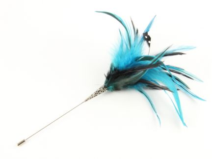 Jewelled Two Tone Hackle Feather Hat Pin